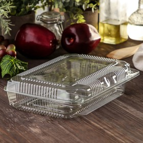 Контейнер одноразовый с неразъемной крышкой 24,1×17,2×4,8 см, 500 мл, прозрачный, 360 шт/уп