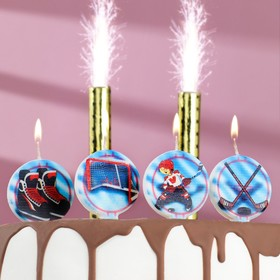 """Набор свечей в торт """"Хоккей"""", 5 шт + 2 фонтана"""