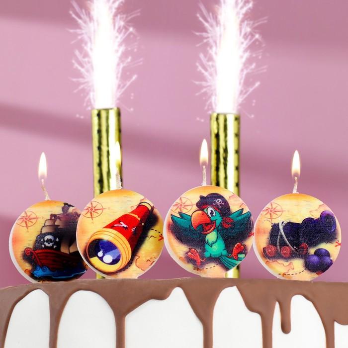 "Набор свечей в торт ""Пиратский"" 5шт + 2 фонтана"