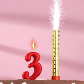 Свеча для торта цифра 'Овал' красная '3' + фонтан Ош