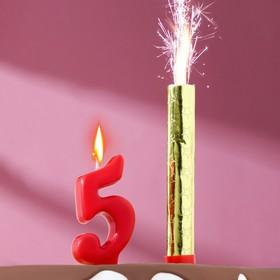Свеча для торта цифра 'Овал' красная '5' + фонтан Ош