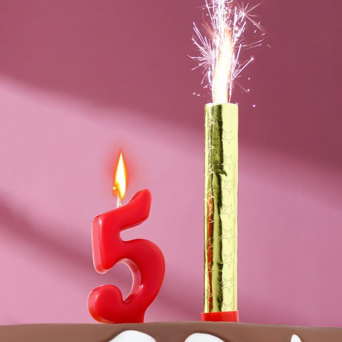 """Свеча для торта цифра """"Овал"""" красная """"5"""" + фонтан"""