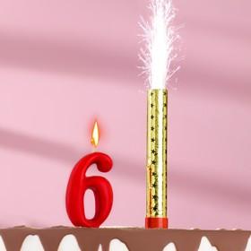 Свеча для торта цифра 'Овал' красная '6' + фонтан Ош