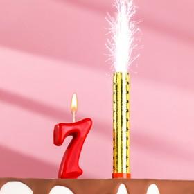 Свеча для торта цифра 'Овал' красная '7' + фонтан Ош
