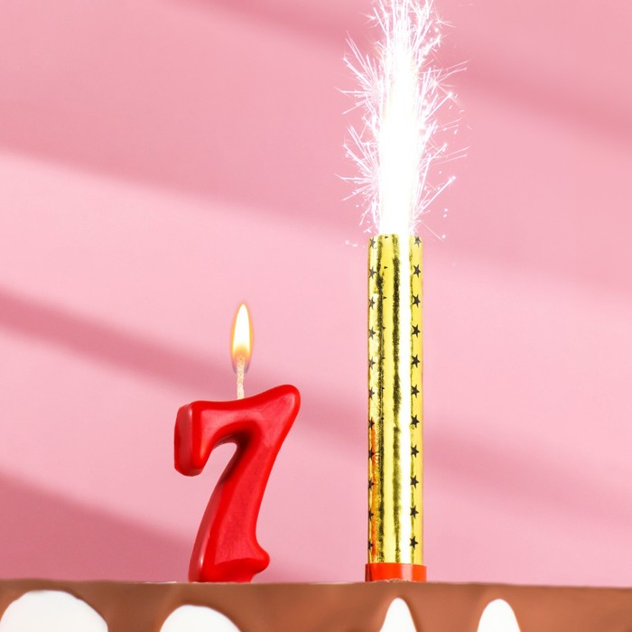 """Свеча для торта цифра """"Овал"""" красная """"7"""" + фонтан"""