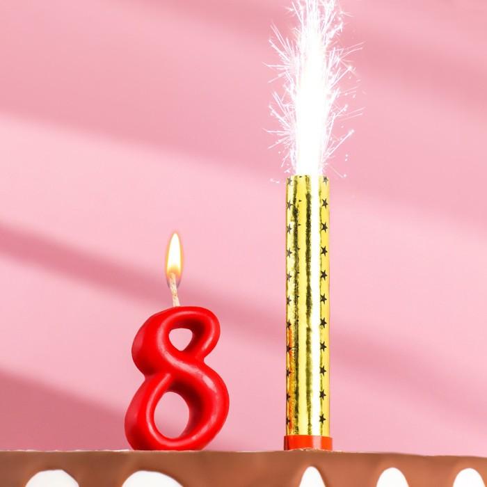 """Свеча для торта цифра """"Овал"""" красная """"8"""" + фонтан"""