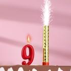 """Свеча для торта цифра """"Овал"""" красная """"9"""" + фонтан"""