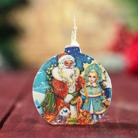 Свеча-медальон 'Дед Мороз и Снегурочка' 4х4см Ош