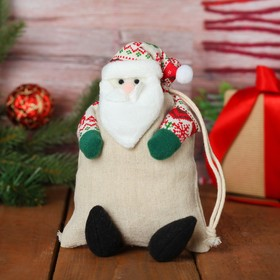 Мешочек для подарков «Дед Мороз», на завязках, цвета МИКС