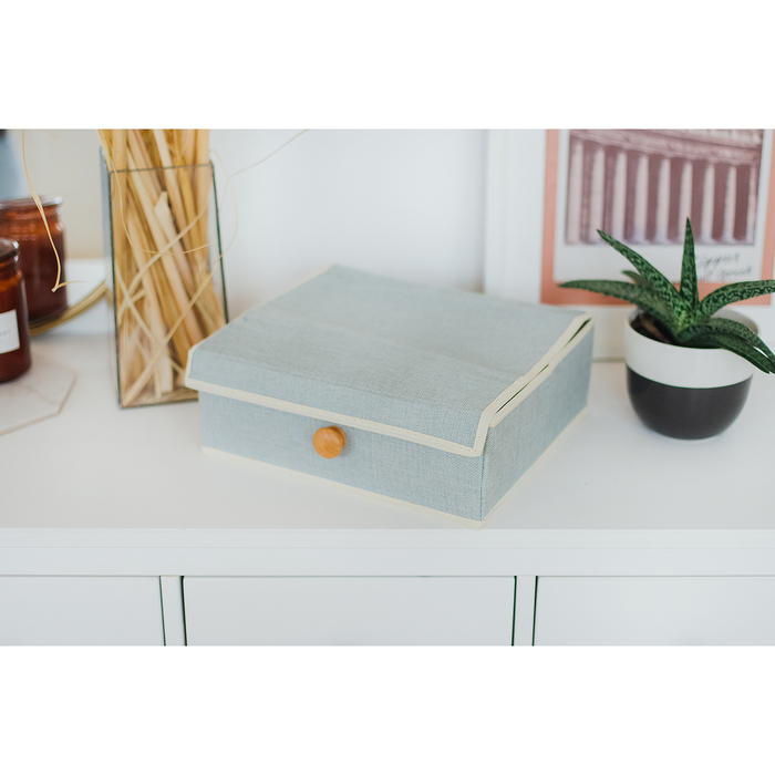 """Органайзер для белья с крышкой 35×29×12 см """"Франческа"""", 8 ячеек, цвет серо-голубой"""