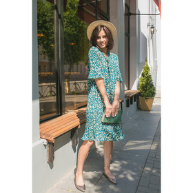 Платье плиссировка от бедра, р.42-44, цв.зеленый,