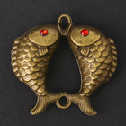 """Souvenir metal pendant """"Two carp"""" 4,4x4,5x1,1 cm"""