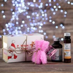 Новогодний набор для ванн женский: шампунь 200 мл, мочалка, тамбуканский гель для душа, органическая косметика 100 мл