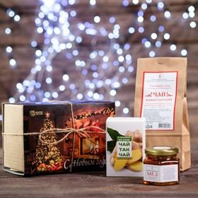 "Новогодний набор чая и мёда: чай-так-чай с имбирем 50 гр, мёд 140 г, чай Монастырский ""Солох аул"" 50 г"