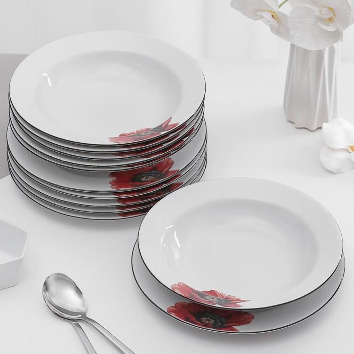 "Набор тарелок ""Мак"", 12 предметов"
