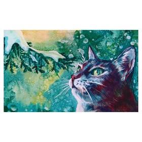 Алмазная мозаика 'Зеленоглазый кот' 40*25см, 28 цветов F-213 Ош