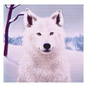 Алмазная мозаика 'Снежный волчонок' 30х35см, 25 цветов R-706 Ош