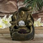 """Фонтан полистоун подсветка """"Молитва Будды"""" бронза от 220В 25,5х20,5х17 см"""