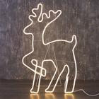 """Фигура из неона """"Олень танцующий"""", 90 х 50 см, 5 метра, 600 LED, 220 В, ТЁПЛЫЙ БЕЛЫЙ"""