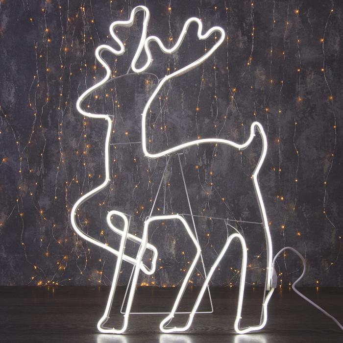 """Фигура из неона """"Олень танцующий"""", 90 х 50 см, 5 метра, 600 LED, 220 В, БЕЛЫЙ - фото 685612162"""