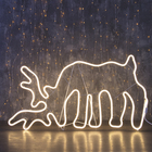 """Фигура из неона """"Олень на водопое"""", 85 х 50 см, 5 метра, 600 LED, 220 В, ТЁПЛЫЙ БЕЛЫЙ"""