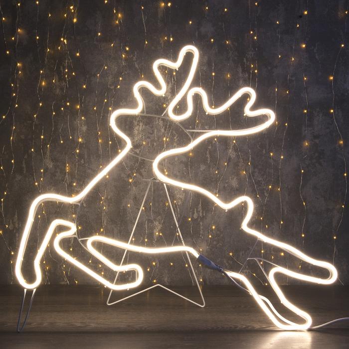 """Фигура из неона """"Олень летящий"""", 70 х 70 см, 4 метра, 480 LED, 220 В, ТЁПЛЫЙ БЕЛЫЙ"""