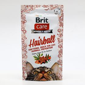Лакомство Brit Care Hairball для кошек, для вывода комков шерсти, 50 г