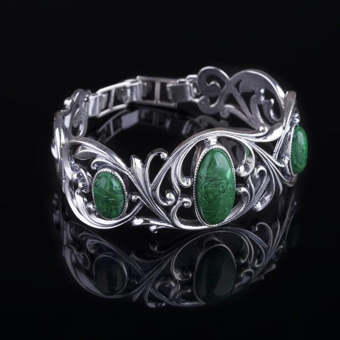 """Браслет """"Монферран"""", цвет зелёный в чернёном серебре"""