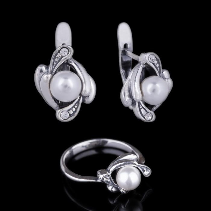 """Гарнитур 2 предмета: серьги, кольцо """"Фрой"""", размер 18, цвет белый в чернёном серебре"""