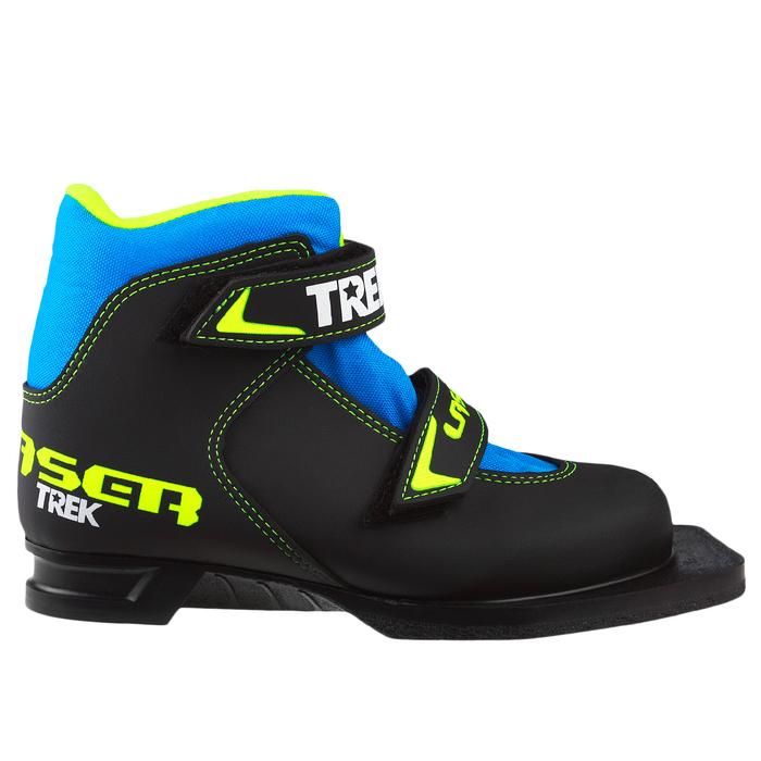 Ботинки лыжные TREK Laser NN75 ИК, цвет чёрный, лого лайм неон, размер 34