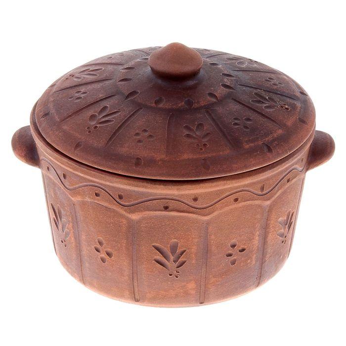 "Жаровня ""Ажур"" декор, красная глина, 1,5 л, микс"