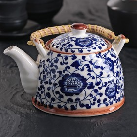 Чайник заварочный «Синий узор», 600 мл, с металлическим ситом