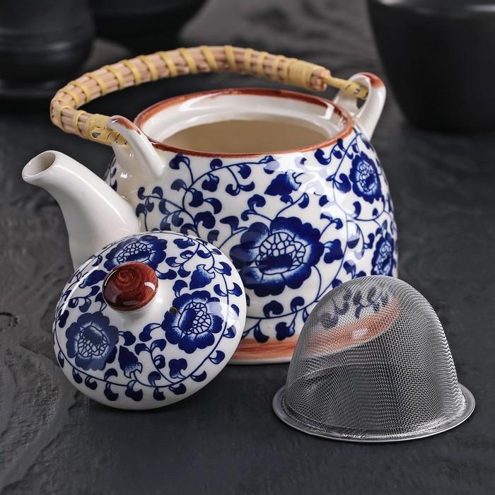 """Чайник заварочный 600 мл """"Синий узор"""", с металлическим ситом"""