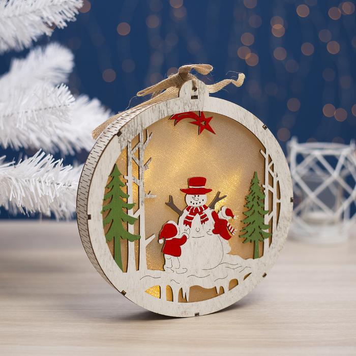 "Фигура деревянная ""Шарик Дети и Снеговик"", 19х19х3.5 см, 2*AA (не в компл.) 5 LED, белый"