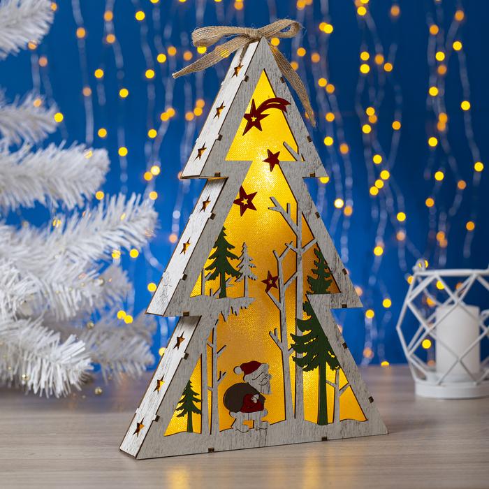 """Фигура деревянная """"Ёлка с Дед Морозом"""", 29х20х4 см, 2*AA (не в компл.) 5 LED, белая"""