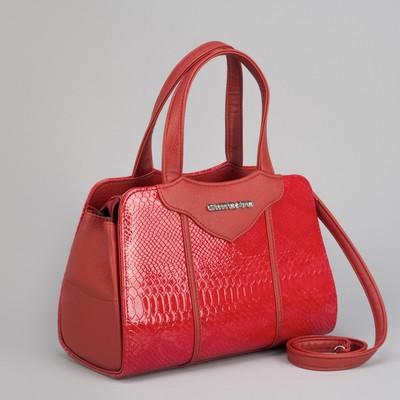 Сумка женская, отдел на молнии, наружный карман, цвет красный