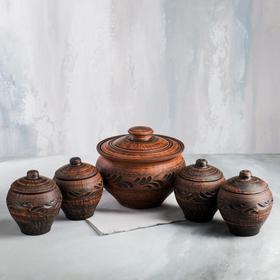 "Набор суповой ""Чугунок "", красная глина , 2.5 л, 0.45 л, микс"