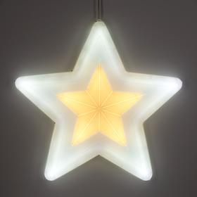 """Фигура уличная """"Звезда белая"""", 58х58х4 см, пластик, 220В, 3 м провод, контр. 8р."""
