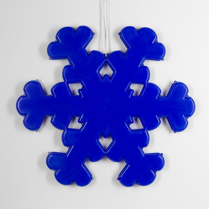 "Фигура уличная ""Снежинка синяя"", 53х53х3.5 см, пластик, 220В, 3 м провод, фиксинг, СИНИЙ"