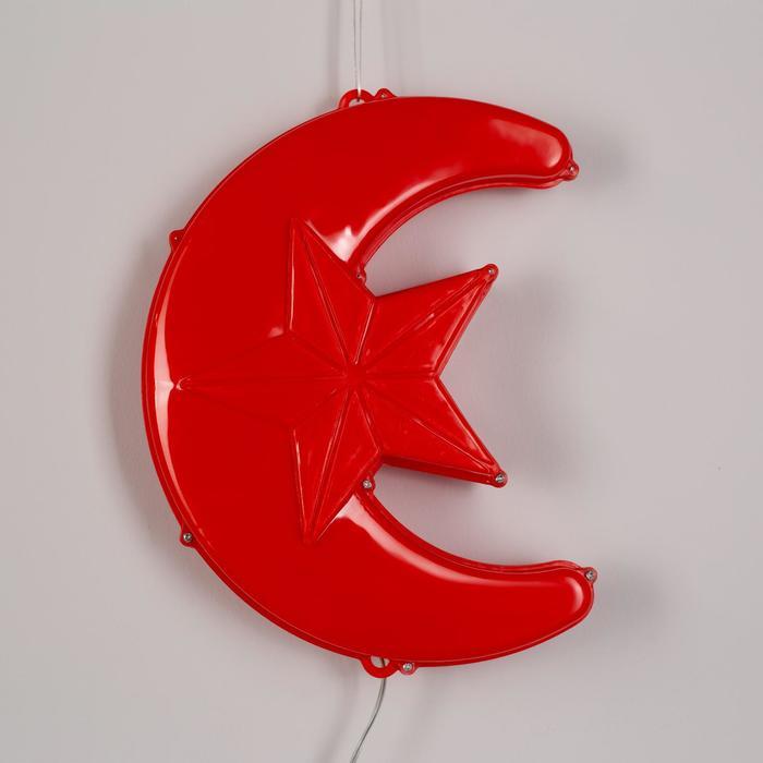 """Фигура уличная """"Месяц красный"""", 23х17х5 см, пластик, 220В, 3 метра провод, фиксинг, КРАСНЫЙ   361244"""