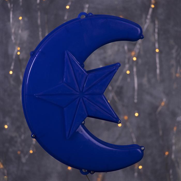 """Фигура уличная """"Месяц синий"""", 23х17х5 см, пластик, 220В, 3 метра провод, фиксинг, СИНИЙ"""
