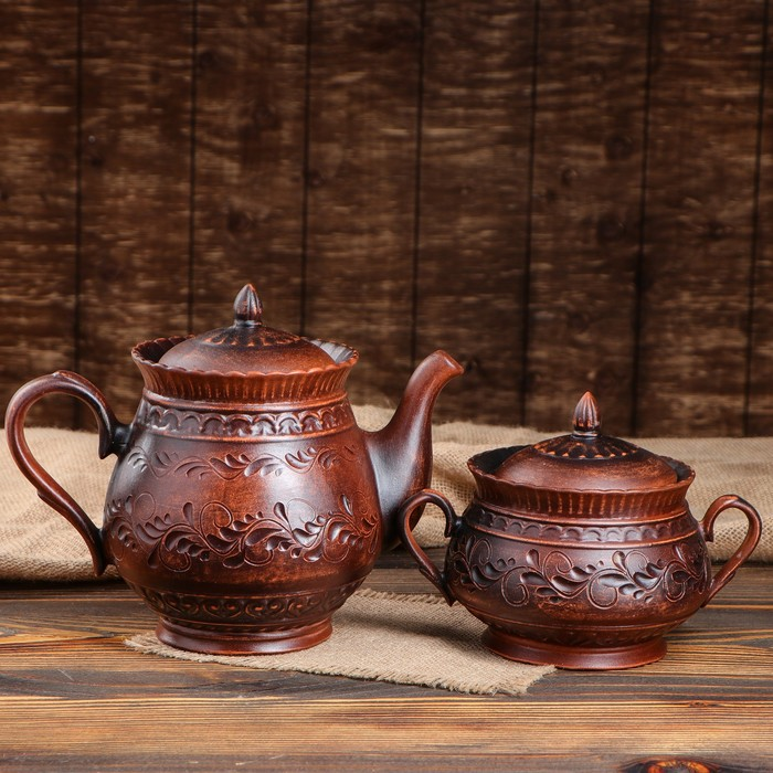 """Набор чайный """"Витязь"""" 2 предмета, чайник 1 л, сахарница 0,5 л, с декором"""