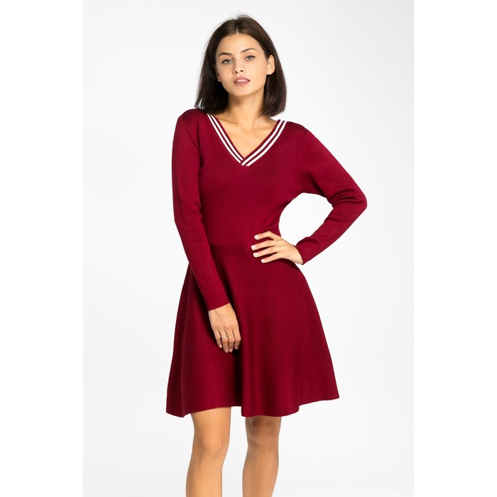 Платье вязаное V-вырез, размер 44, цвет бордо
