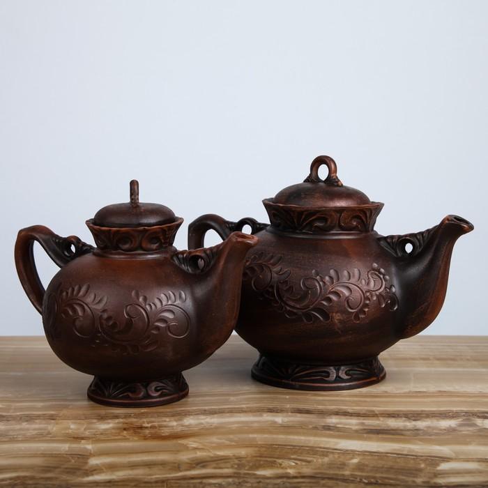 """Набор чайный """"Карачун"""" 2 предмета, с декором, чайник 1,3 л, 2 л"""