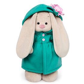 Мягкая игрушка «Зайка Ми» в изумрудном пальто с розовым цветочком, 32 см
