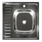 """Мойка кухонная """"Владикс"""", накладная, без сифона, 60х60 см, правая, нержавеющая сталь 0.4 мм   389064"""