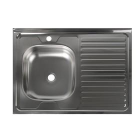 """Мойка кухонная """"Владикс"""", накладная, без сифона, 60х80 см, левая, нержавеющая сталь 0.4 мм"""