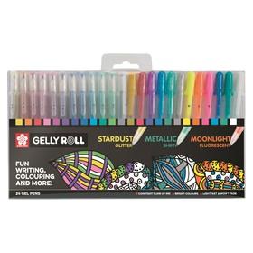 Набор гелевых ручек для декоративных работ 24 цвета, Sakura Gelly Roll 0.8 (с блёстками, металлик, флуоресцентные)