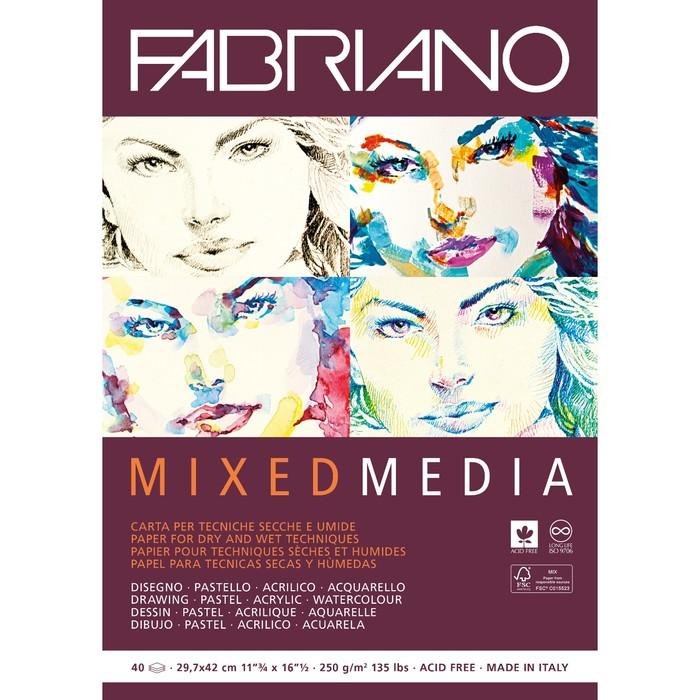 Альбом Смешанные техники А4 210*297 Fabriano Mixed Media 40л 250 г/м² склейка