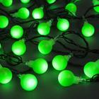 """Гирлянда """"Нить"""" с насадками """"Шарики Зеленые"""", 5 м, LED-30-220V, 8 режимов, нить тёмная, свечение зелёное"""